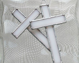 Small White Glass Cross Suncatcher or Ornament -  Graduation