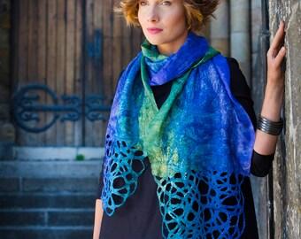 Silk Scarf, felted scarf, Silk felt scarf, Handpainted scarf, unique handmade scarf, womans scarf, artisan scarf, silk wrap, fashion scarf,