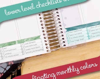 Lower Level Watercolor Checklist Vertical Layout Coordinating Basics - Instant Download - fits your Erin Condren Weekly Boxes