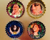 The LADIES WHO SLAY  Collection Bottlecap Magnet Art Beyonce Gaga Dolly Parton  Cher Amy Winehouse Janet  Bette  Madonna