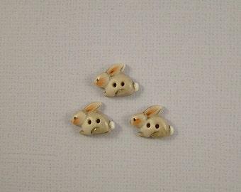 Gray Bunny Button set of 3