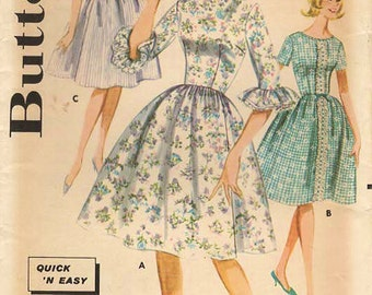 1960s Butterick 2153 UNCUT Vintage Sewing Pattern Young Junior Teen Full Skirt Dress, Fitted Dress, Party Dress Size 14 Bust 34
