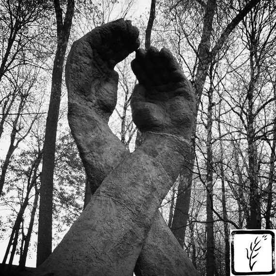 LGBTQ, B&W Photograph, cemetery, wall art, photo print, fine art, home decor, AIDS ribbon, hands, sculpture, Indianapolis, Indiana, memorial