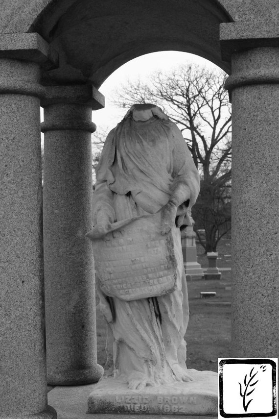 Black and White Photograph, wall art, home decor, photo print, fine art, art photography, headstone, cemetery photograph, gravestone, creepy