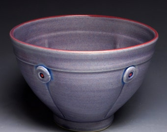 Purple Button Ceramic Soup Bowl, Pottery Cereal Bowl