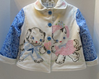 Size 4 Vintage Embroidered Kitten and Puppy Jacket