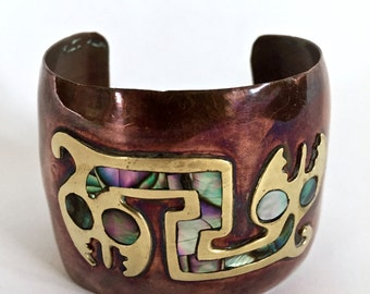 INCREDIBLE vintage 1960s 1970s mixed metals abstract ARTISAN statement cuff bracelet abalone inlay MEXICO bohemian boho ethnic mayan aztec