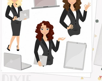 Woman business character clipart,  girl boss clipart set with blonde, brunette and auburn hair (Dixie  L109)