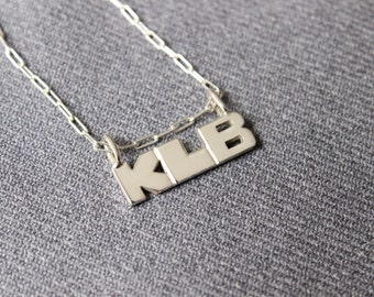 Monogram Necklace, Personalized Jewelry, Monogram Pendant Sterling silver Made to order, Custom Letters, Pendant Lyrics