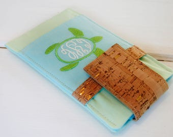 iPhone Fabric Sleeve,Turtle iPhone Fabric Case, Monogrammed Turtle Samsung Galaxy Phone Case, Phone Cover, Phone Sleeve in Sanibel Seaglass
