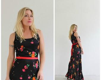 1970s Rosebud Maxi Dress /// Size Small