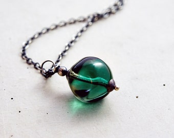 Glass Necklace, Glass Pendant, Czech Glass, Pendant Necklace, Teal Green, Green Orb, Sterling Silver, Glass Jewelry, PoleStar