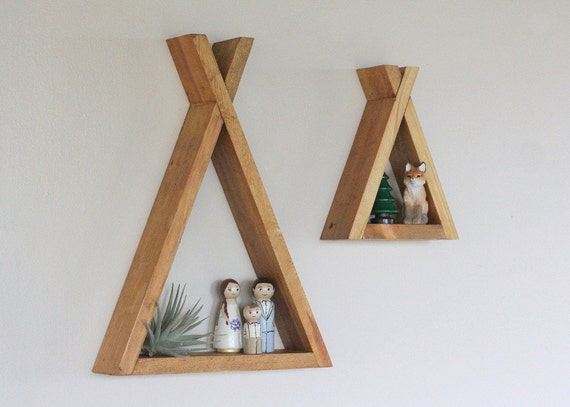 Wood Tipi Shelf Nursery Room Decor Forest Reclaimed Wood Triangle Geometric