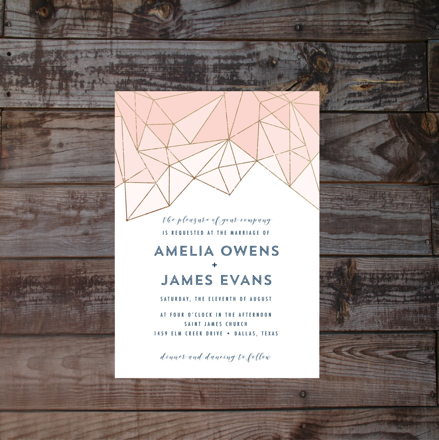 Modern Wedding Invitations Geometric Wedding Invitations