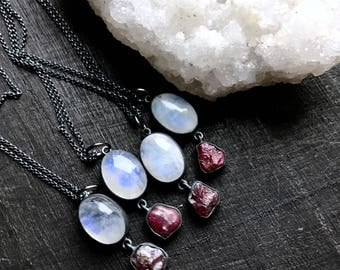 Ruby necklace | Rainbow moonstone necklace | Raw ruby necklace | crystal pendant | Rainbow moonstone pendant | rainbow moonstone pendant