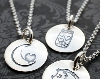 Sterling Silver Charm Necklace - You Pick the Design - Hand Stamped Sterling Silver Jewelry by Eclectic Wendy Designs