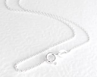 Short Dainty Chain Necklace, Thin Silver Chain Choker, Simple Layering Necklace, Italian Sterling Silver