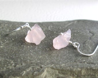 Raw Rose Quartz Earrings, Pink Natural Crystal Jewelry
