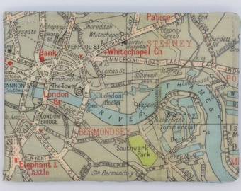 Oyster card holder, bus pass holder, travel card holder, wallet. London map print wallet .Bermondsey, Whitechapel map wallet, credit card.
