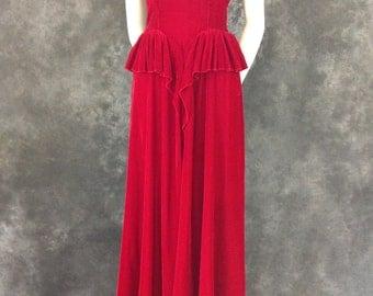 Vintage 1940's cherry red velvet gown small XS XXS