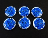 "6 Dark Blue Hydrangea Flower Buttons.  Two Hole Sewing Buttons. 3/4"" or 20 mm. Handmade By Me.  Washer and Dryer Safe."