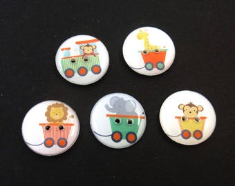 5 Zoo Animal Train Buttons.  Handmade Buttons.  Sewing Buttons. Monkey, Giraffe, Lion and Elephant.