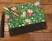 Linen & Rustic Leather Clutch: Green Flowers