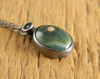 TINY ocean jasper necklace, little green stone pendant with orb, small bezel-set stone, metalwork sterling silver necklace.