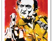 "12 x 18""- Johnny Cash Kunstdruck - Johnny Cash Plakat Pop-Art - Johnny Cash flipping Vogel - Mittelfinger Johnny Cash - Johnny Cash"