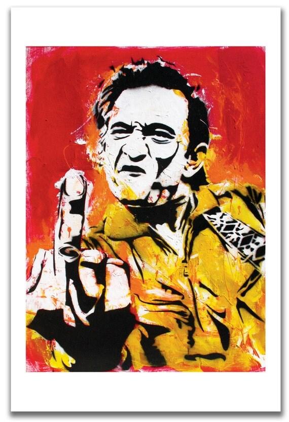"12 x 18"" - Johnny Cash art print - Johnny Cash poster - Johnny Cash flipping the bird - Johnny Cash middle finger - Johnny Cash pop art"