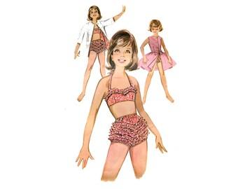 1960s Girls Sun Coordinates Pattern Ruffled Bikini Swimsuit Skirt Jacket NO INSTRUCTIONS Butterick 9814 Size 10 Vintage Sewing Pattern
