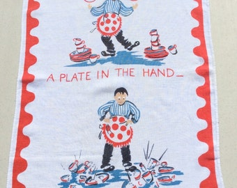 Vintage Towel Hubby Juggles Dish Washing A Plate in the Hand