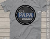Papa or grandpa shirt - our papa (or grandpa) rocks personalized with multiple grandkid names t-shirt  MDF1-040
