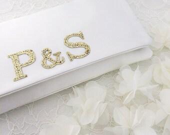 Bride and groom monogram bridal wedding clutch purse handbag