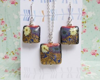 Gold Foil White Flower Blue Polymer Clay Earrings Necklace Set, Silver Chain, Floral Jewelry, Gift For Her