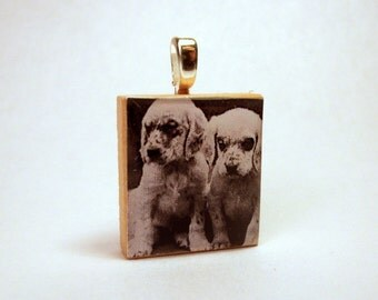 ENGLISH SETTER Puppy Pendant / SCRABBLE / Charm / Necklace / Dog Gift / Unusual Handmade Jewelry