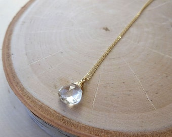 White topaz necklace, April birthstone, crystal drop, minimal layering necklace, dainty gemstone jewelry, Otis B, Bridesmaid gift idea