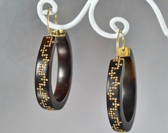 Antique Victorian 14K Gold Pique Earrings, Drop Pierced Dangle Hoop Earrings, Greek Key Love Infinity Design Shell Earrings Antique Earrings