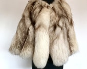 60s Genuine Blue Fox Fur Cape Stole Wrap Capelet Wedding Boho Hollywood Glam . One size . HangerJ . 1237.11.3.16