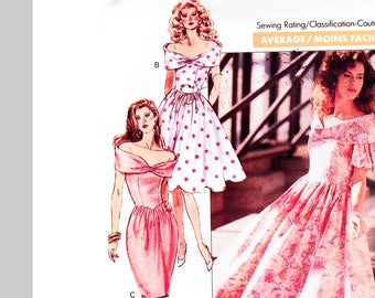 Off Shoulder Dress Pattern Misses size 8 10 12 UNCUT Bell Skirt or Full Skirt Dress, Cocktail Dress, Garden Party Dress Pattern
