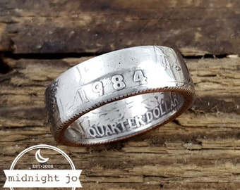 1984 Coin Ring Quarter Coin Ring Double Sided Coin Ring