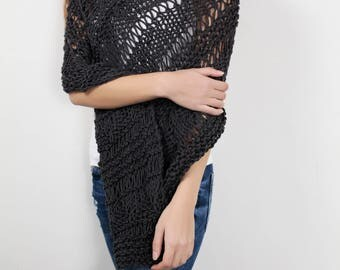 Hand knit little cotton poncho knit scarf knit shrug Charcoal woman sweater