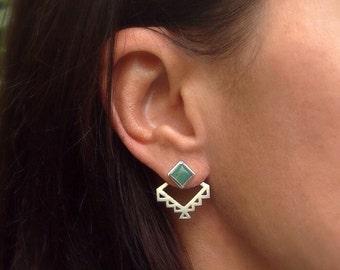 Aztec ear jacket earrings - geometric ear jackets and gemstone stud earrings - geometric- tribal- minimal - ear jacket sterling silver