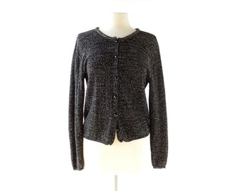 Vintage Glitter Cardigan | Black Gold | 80s Sweater | S M