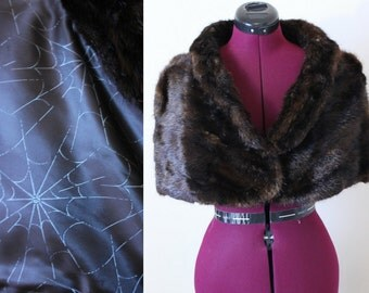 50s Mink Stole with spider web novelty print silk lining