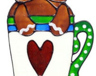 Gingerbread Love Mug Window Cling