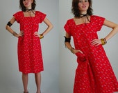 Cotton House Dress Vintage 70s Red Graphic Cotton Draped Slouchy Sack House Dress (s m)