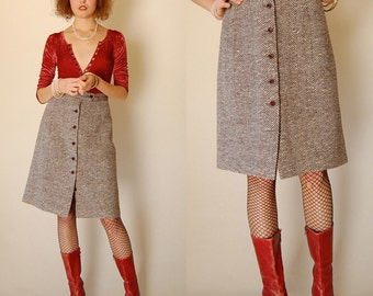 "Wool Tweed Skirt Vintage 60s Wool Tweed High Waist Preppy A Line Skirt (27"" Waist)"