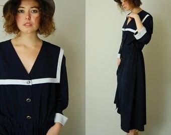 Slouchy Black Dress Vintage Black + White Slouchy Pilgrim Collar Preppy Minimal Dress (m l)