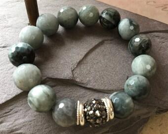 Gray Stone Stretchy Bracelet